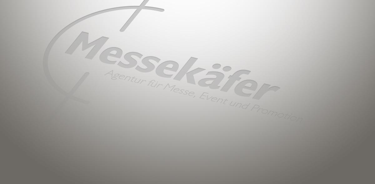 Messekäfer logo auf grauem Hintergrund