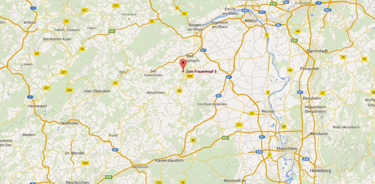 Messekäfer auf Karte mit Adresse
